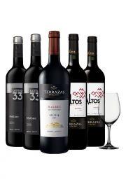Pack x5 Malbec vinos + copa de cristal obsequio
